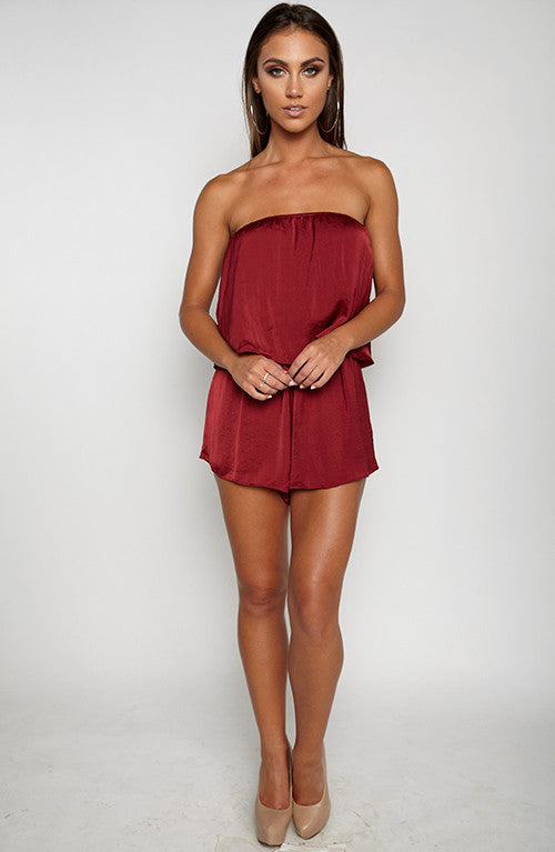 On Another Level Playsuit - Burgundy