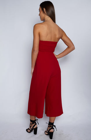 Trap Queen Jumpsuit - Red