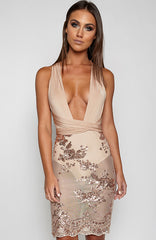 Angel City Dress - Nude/ Gold