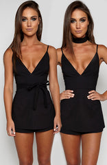 Frills Playsuit - Black