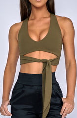 Bad Decisions Crop - Khaki