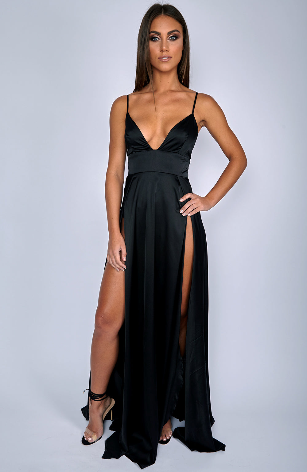 Slipped Through Maxi Dress - Black