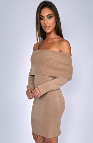 Oversized Amber Knit Dress - Mocha