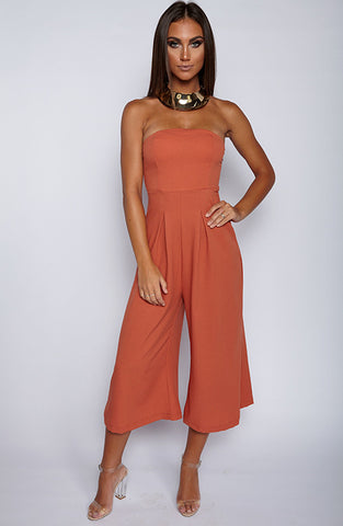 Trap Queen Jumpsuit - Burnt Orange