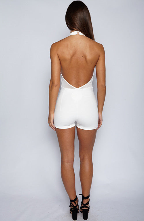 High Bombshell Playsuit - White