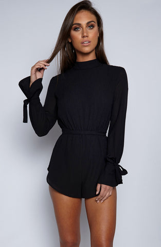 Pin You Down Playsuit - Black