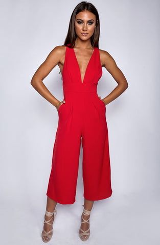 Totally Down Jumpsuit - Red