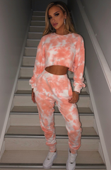 Xena Cropped Jumper - Peach Tie Dye