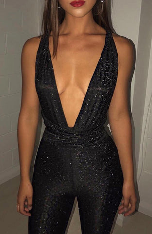 Luxe Life Jumpsuit - Black Sparkle
