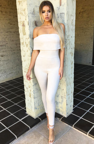 Ahead of the Game Jumpsuit - Beige