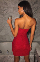 Tila Mini Dress - Red Sparkle