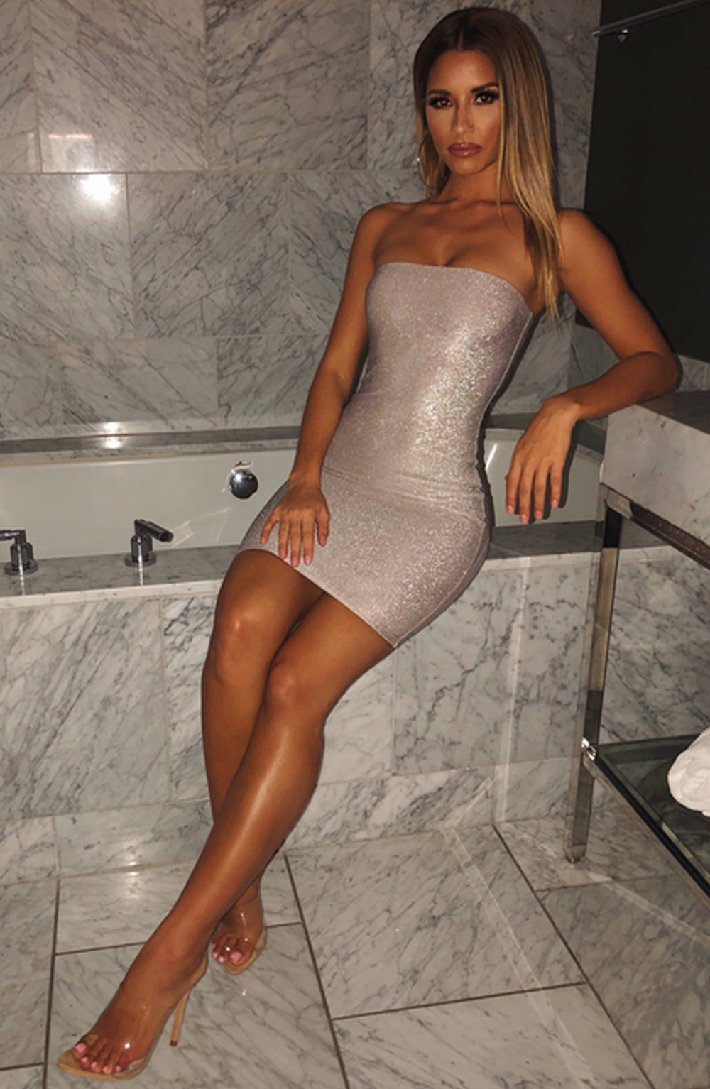 Tila Mini Dress - Grey Shimmer