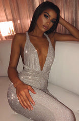 Luxe Life Jumpsuit - Grey Shimmer