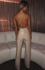 LA Bish Jumpsuit - Gold Sparkle