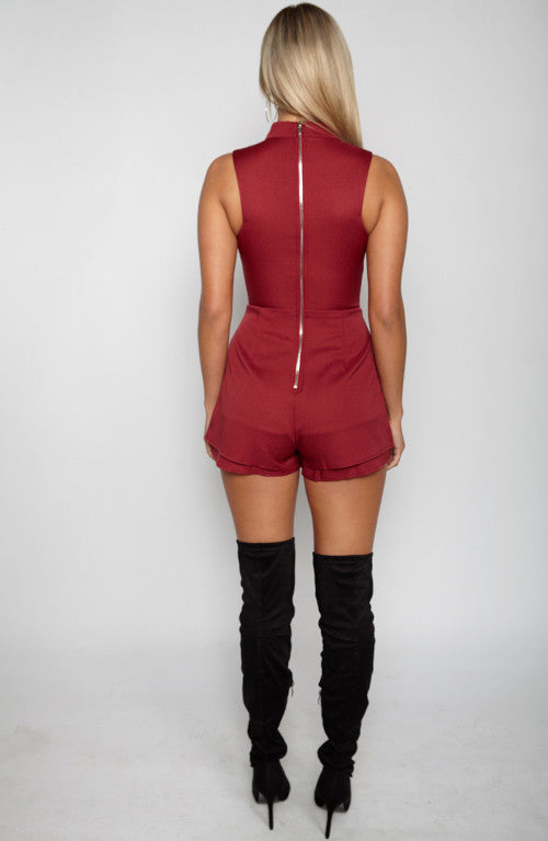Cage Him In Playsuit - Maroon