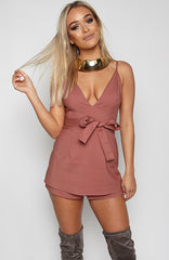 Frills Playsuit - Mauve
