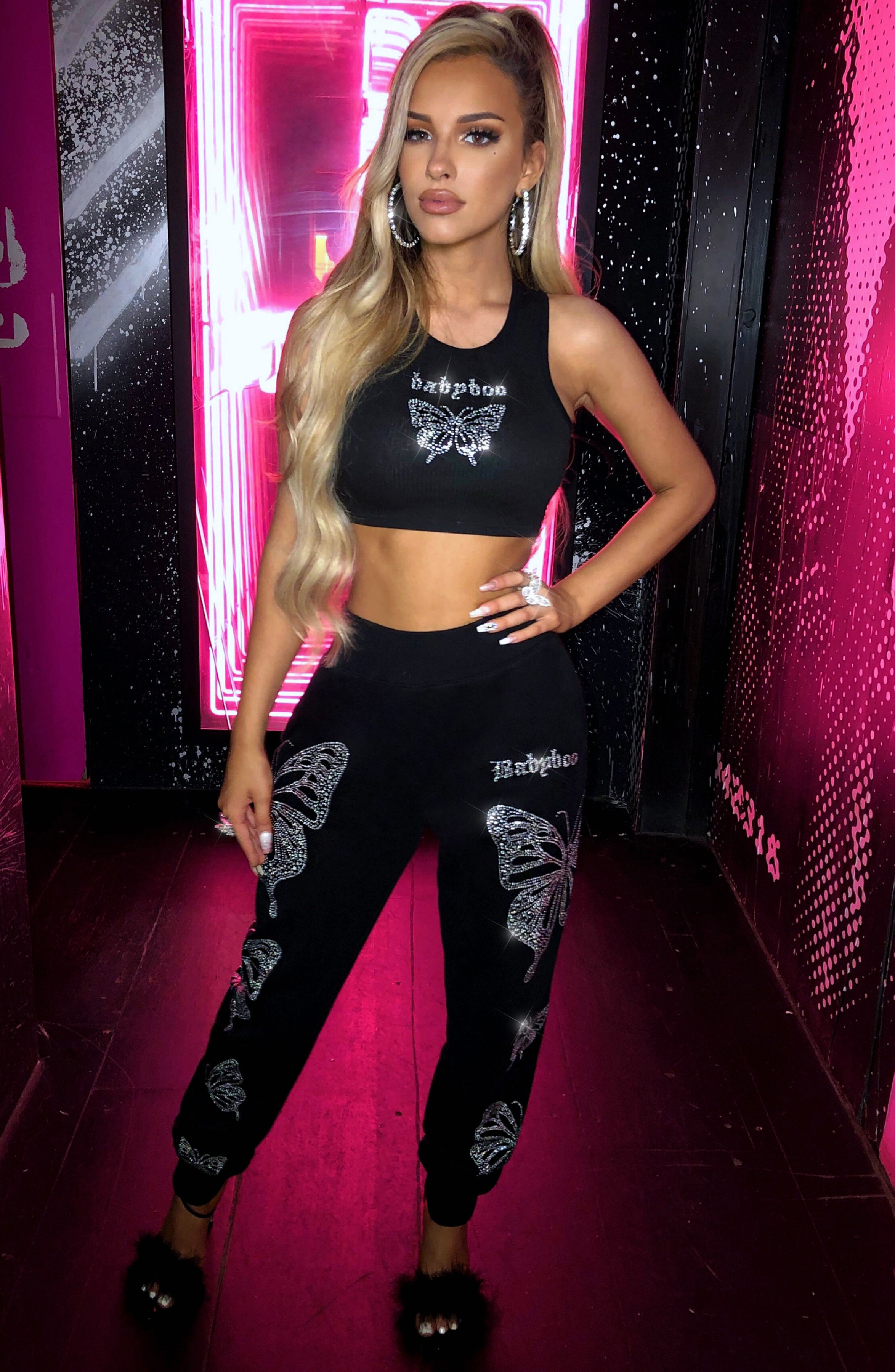 Sasha Diamante Trackpants - Black