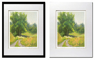 Farm Road oil painting matted giclee print