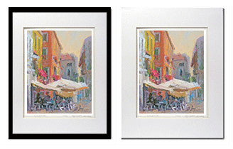 Italian Cafe Scene Matted Print for sale