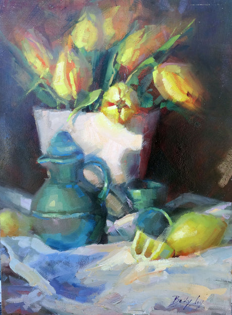 Tulips and Breakfast Juice Still Life Painting