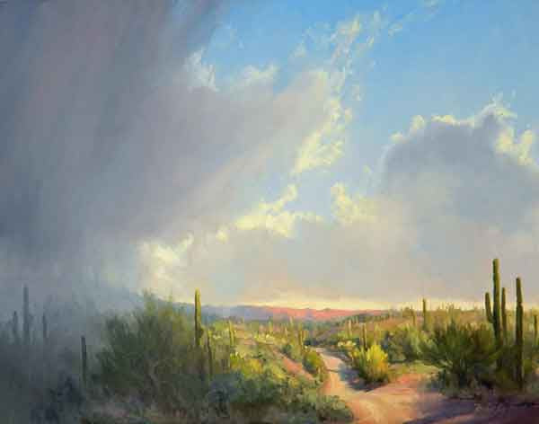 Desert Rain Oil Sky Painting - Becky Joy Fine Art