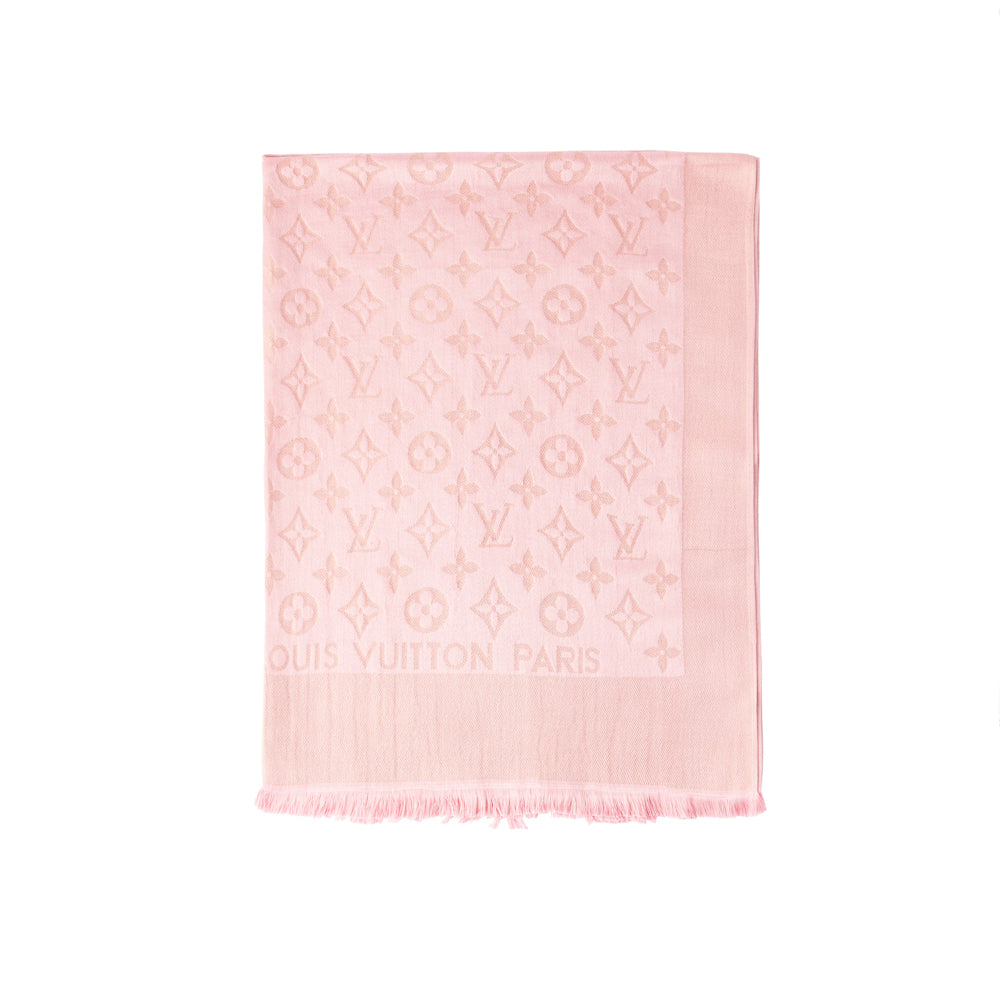 1544275c0cd85 Louis Vuitton Pink Shine Silver silk and wool-blend shawl scarf ...