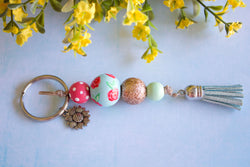 English Floral - Sparkly Rose Gold Wooden Bead Tassel Keyring - Violets and  Poppies Handmade Wooden 7a31d58c83