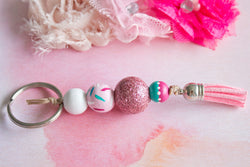 Fairy Bread - Cute Pink Glittery Wooden Bead Tassel Keyring - Violets and  Poppies Handmade Wooden 1c018af8e8
