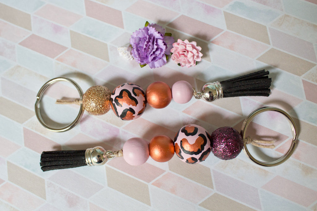Leopard - Women s Rose Gold Handpainted Wooden Bead Tassel Keyring -  Violets and Poppies Handmade Wooden c33336a5a0