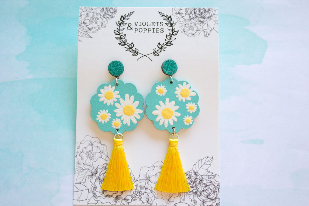 0477252a9 Oopsie Daisy: Aqua and Yellow Handpainted Floral Dangle Earrings - Violets  and Poppies Handmade Wooden