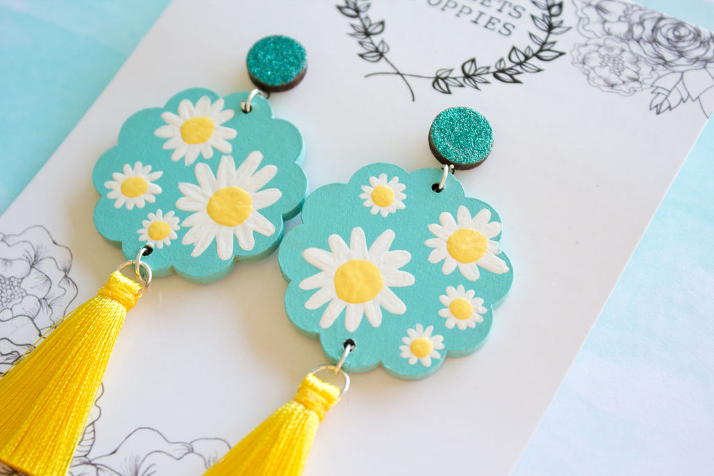 bf267c41a Oopsie Daisy! Aqua & Yellow Floral Dangle Earrings | Violets & Poppies –  Violets and Poppies Handmade Wooden Bead Jewellery and Accessories