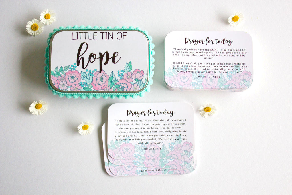 Blue Floral Prayer Tin (Encouragement Cards, Christian Gifts)