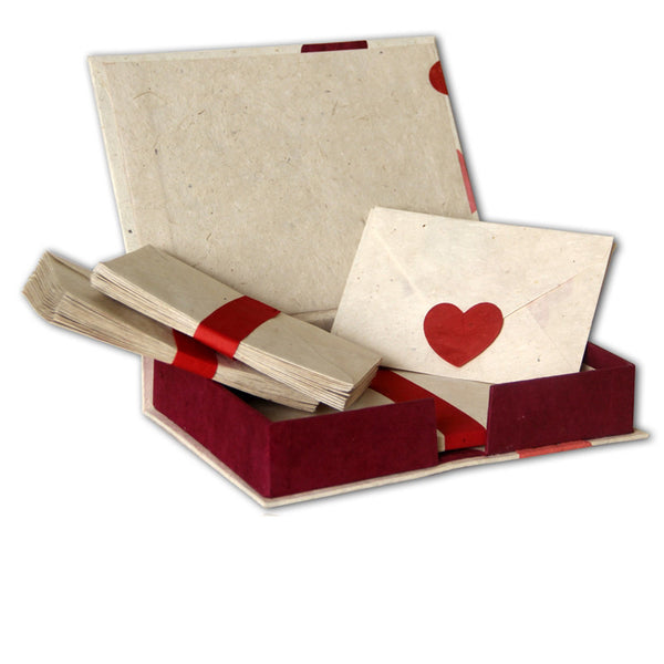 Monk Paper Pink Hearts Lokta Stationery Box Set