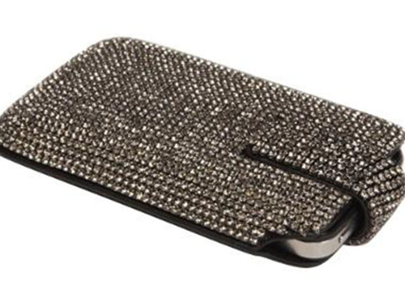 PBL iPhone Case Made w/ Swarovski Crystals Black Leather with Black Diamond Crystals