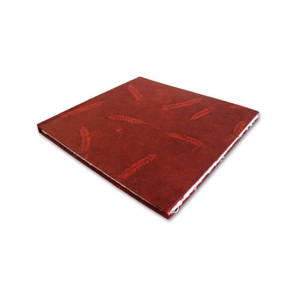 Monk Paper Veg Dyed Leather Red Lokta Hard Cover Scrap Book