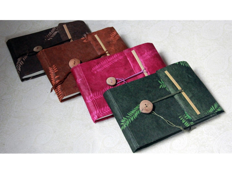 Monk Paper Veg Dyed Fern Leaf Fuchsia Lokta Travel Journal