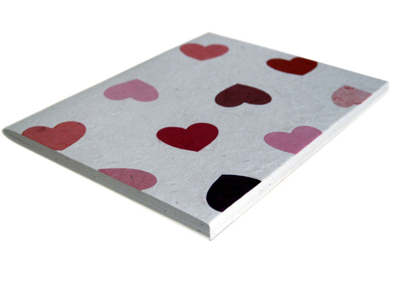 Monk Paper Pink Hearts A4 Size Soft Cover Lokta Sketch Book