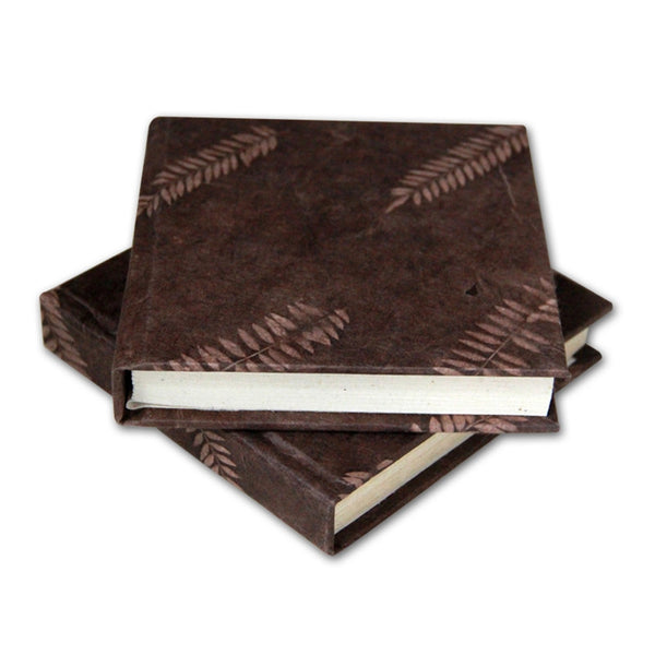 Monk Paper Veg Dyed Fern Leaf Walnut Lokta Hard Cover Notebook