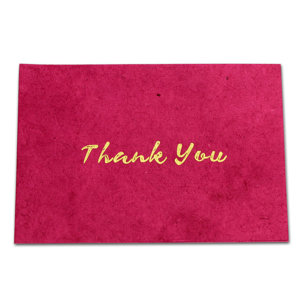 Monk Paper Thank You Note with Pink Envelope - Gold Letter