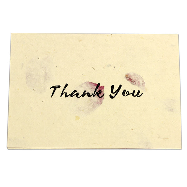 Monk Paper Thank You Note with Rose Petal Envelope- Black Letter