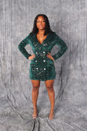 Velvet Sequin Blazer Dress in GREEN EMERALD