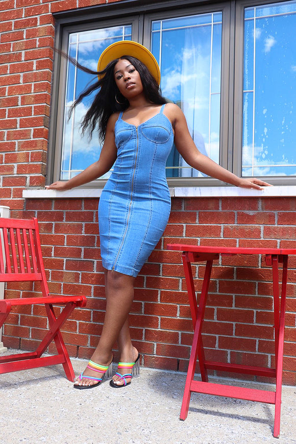 CORSET Denim Midi Dress