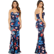 SCARLETT Floral Print Strapless Maxi Dress in NAVY BLUE