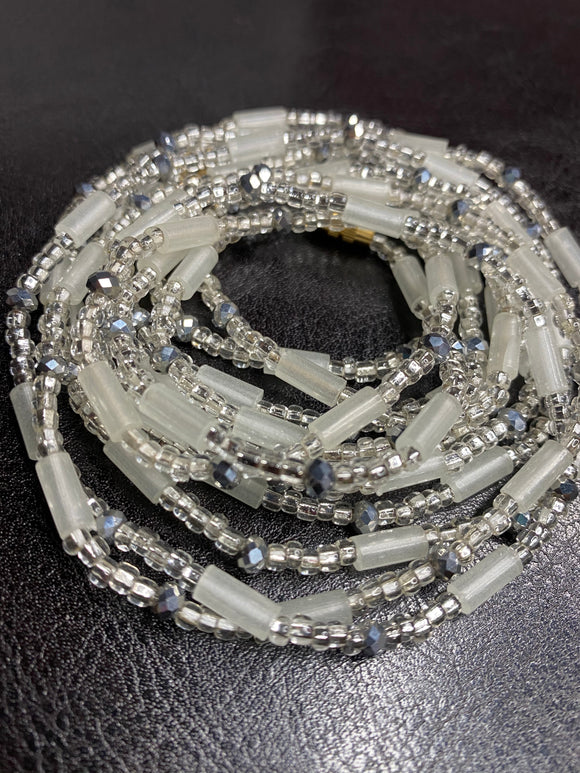 SILVA Tube & Crystal Waist Beads (with Screw Clasp)