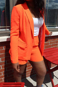 WORK n PLAY Blazer & Short Suit in Neon Orange