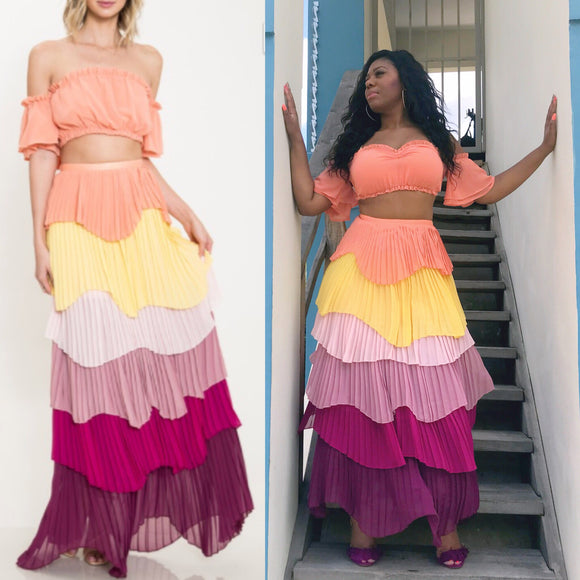 CUBA SUNSET MULTICOLOR SKIRT SET