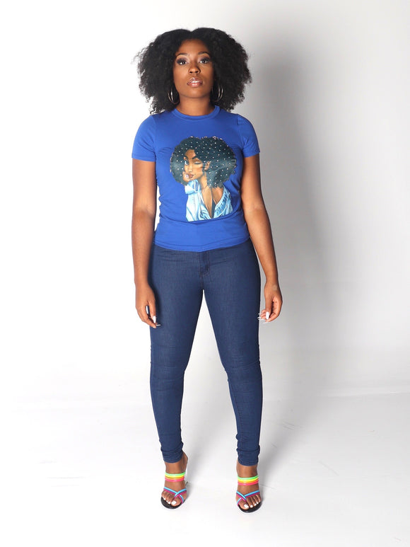 AFRO DIAMOND GIRL in Royal Blue