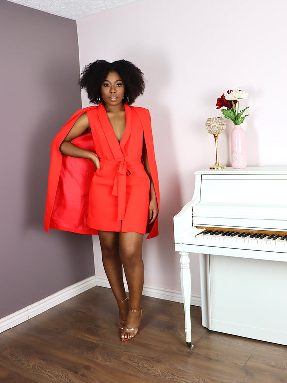 Belted Cape Blazer Dress in RED/ORANGE
