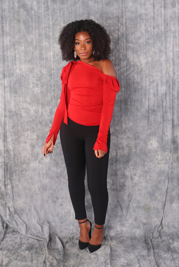 RIBBON Asymmetrical Off the Shoulder Top in Red