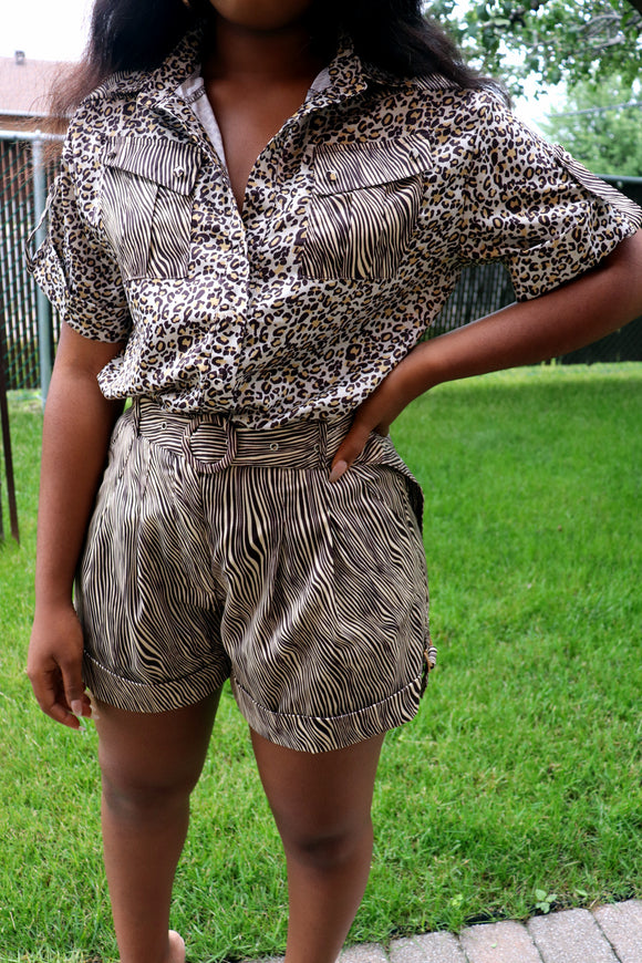 JUNGLE FEVER  Blouse & Short Set